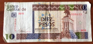 Billete de 10 pesos del Banco Central de Cuba