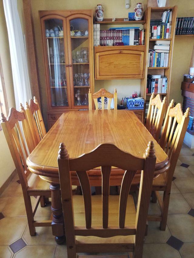 Conjunto de mesa comedor pino de segunda mano por 250 € en Benicasim ...