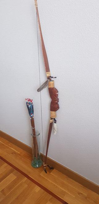 arco y flechas indio de madera