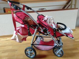 carrito gemelar muñecos