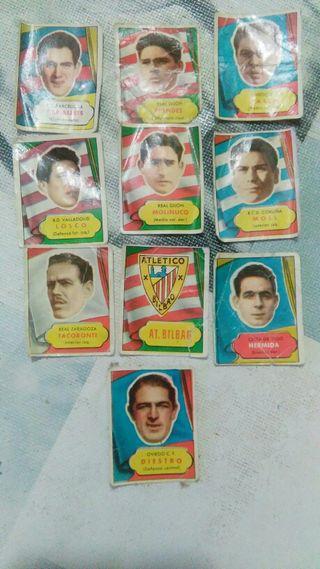 10 cromos de futbol de la temporada 1952, 1953.