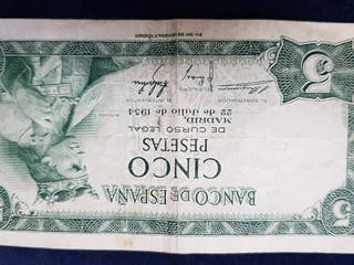 billete 5 peseta 1954