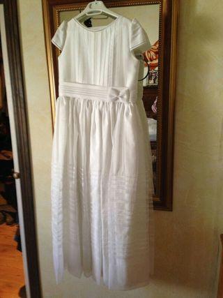 Vestido de comunión, guantes y tocado. Talla 125