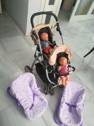 carrito gemelar de muñecas