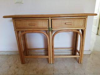 mueble mimbre y bambú