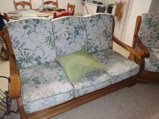 sofa madera 3 plazas con dos butacones