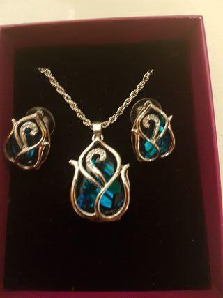 Conjunto cisne con cristal Swarovski color azul