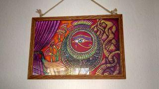 Cuadro ojo de Horus y pirámide egipcia