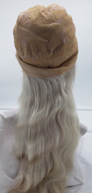 Silver/white synthetic front lace wigs