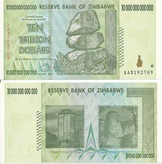 Billete 10 Trillones de Dolares Zimbabwe