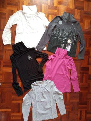 1,20€ camiseta.Lote 5 camisetas niña. Talla 7-8