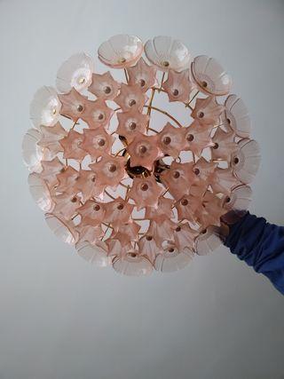 Lampara de cristal rosa con lamparitas