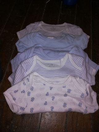 5 bodys bebé manga corta 6-9 meses