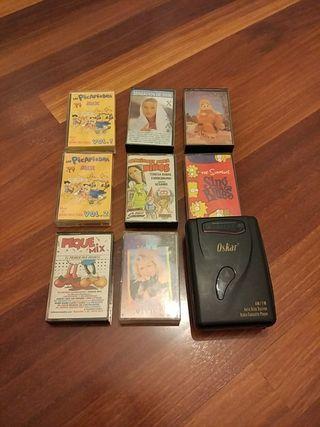 Walkman, radio cassette player, cintas varias