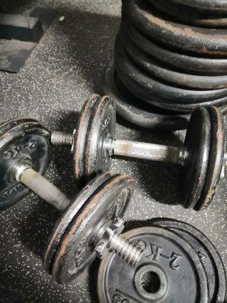 discos mancuernas y barra 125 kg