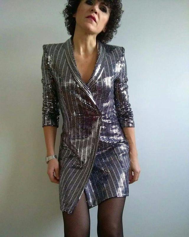 suave y ligero gran inventario en venta Vestido blazer metalizado Zara.T/XL Con Etiquetas! de ...