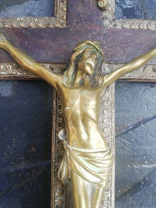 cristo de metal y madera 40 cm