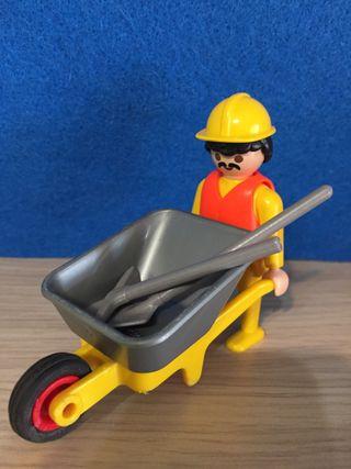 Playmobil operario construcción con carretilla