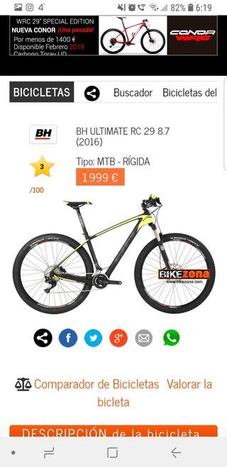 bicicleta montaña bh 8.7 de 29