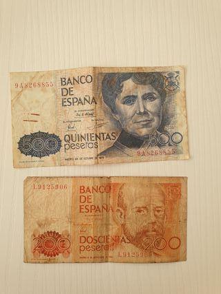 Billetes 500 y 200 pesetas
