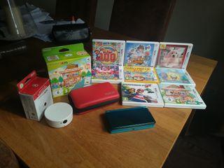 NINTENDO 3DS AZUL+8 JUEGOS+LECTOR NFC+FUNDA