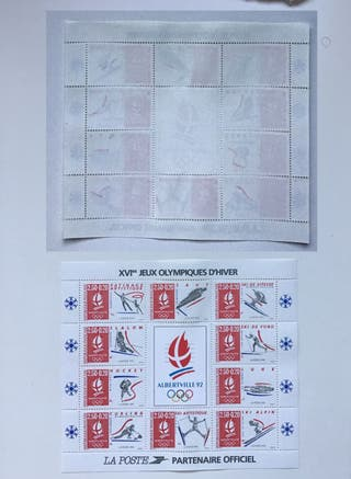 Francia Hoja sellos Olimpiadas Albertville 1992 NU
