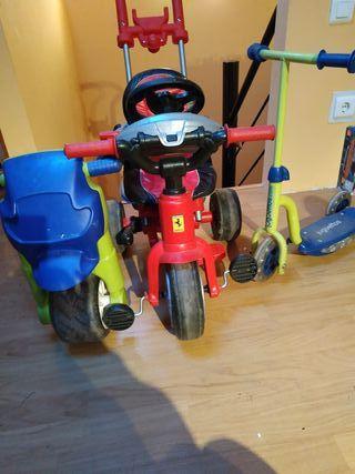 Triciclo Ferrari, patinete y moto
