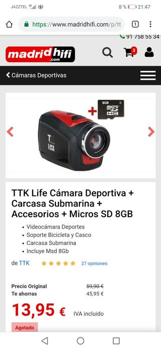 Life cam HD deportiva más carcasa submarina
