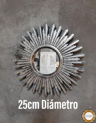 Espejo Sol 25cm Diámetro Plata Envejecida