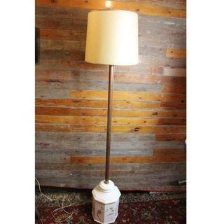 Antigua lámpara de pié con base de cerámica