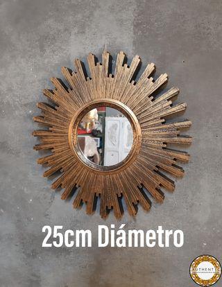 Espejo Sol 25cm Diámetro Dorado Envejecido