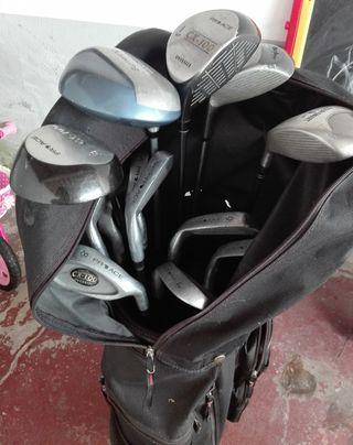 palos de golf y carro