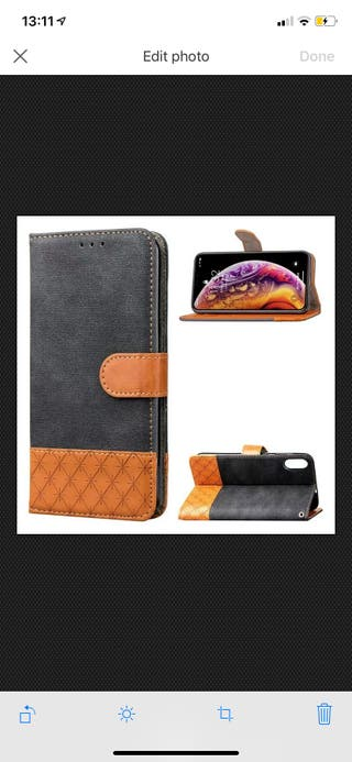 Leather Wallet phone case for iPhone X/XS- blsck