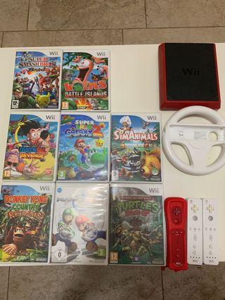 Wii mini 3 mandos y 8 juegos