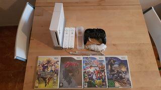 Nintendo wii + 4 juegos + 3 mandos