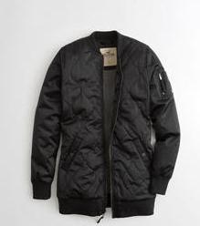 Black longline bomber jacket women Size S