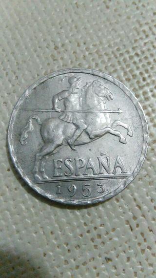 moneda con error de 10ctm de 1953