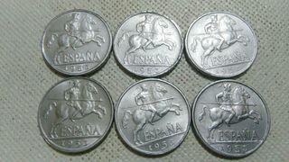 lote de 6 monedas de 10 ctm de 1953, son excelente