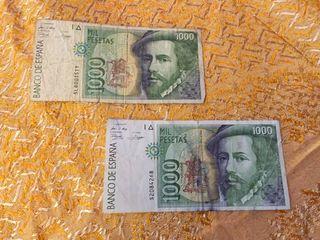 Dos billetes 1000 pesetas