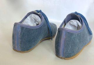 basket sneakers en toile jeans et cuir Elizabeth S