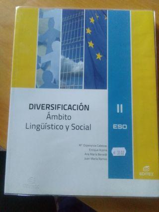 """Libro """"ámbito lingüístico y social"""" segundo ESO."""