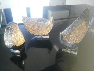 figuras de galos oro y platino