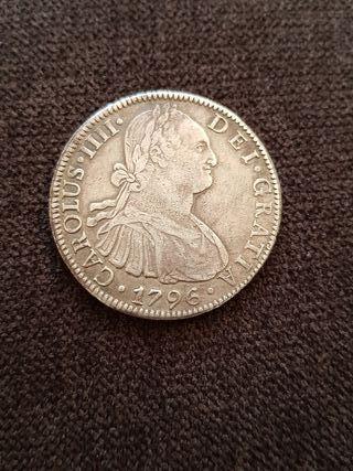 moneda de 8 reales de plata de Carlos IV