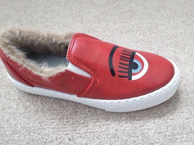Chiara Ferragni Red slip on leather Trainers