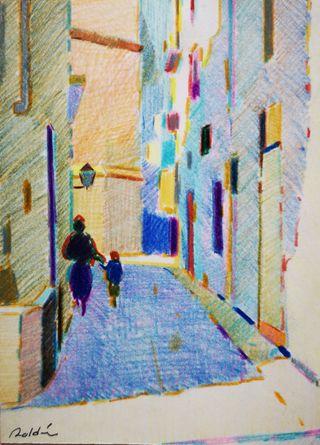 Dibujo de una calle niño madre del artista Roldán