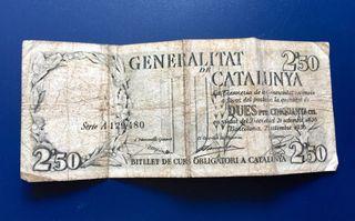 Billete GENERALITAT DE CATALUNYA 2,50 Pesetas 1936