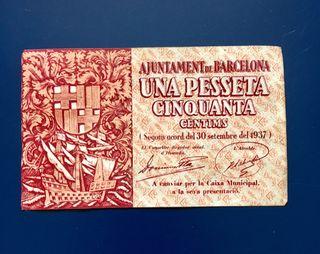 Billete Local BARCELONA 1,50 Pesetas 1937