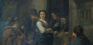 cuadro oleo pintura antigua holandesa XIX