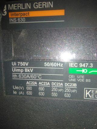 Interruptor general magneto-termico.