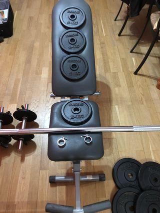 Juego de pesas + banqueta ejercicios